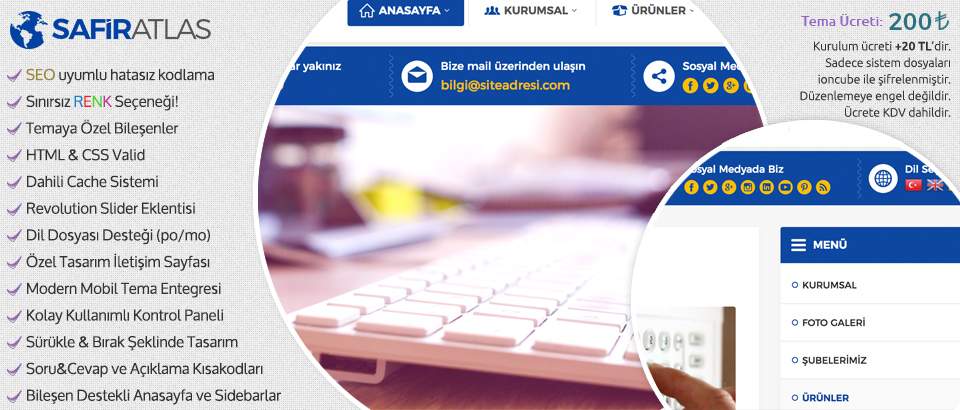 Safir Atlas Kurumsal Wordpress Teması
